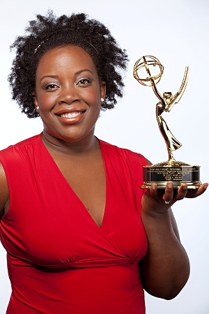 Joyce Brewer, host of Mommy Talk Show, with Emmy