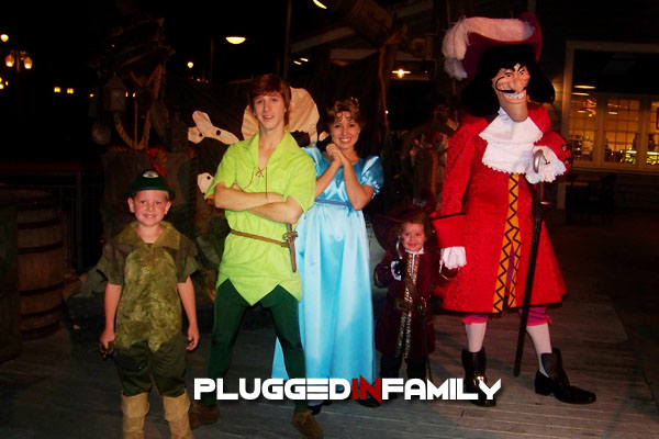 Peter Pan, Captain Hook, and Wendy at Mickey's Halloween Party at Disneyland