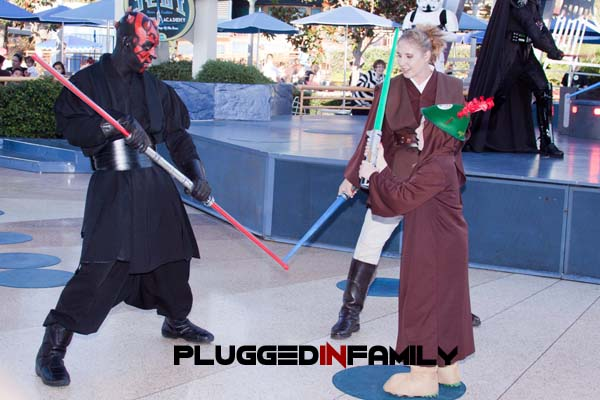 Peter Pan fighting Darth Maul at Jedi Training Academy