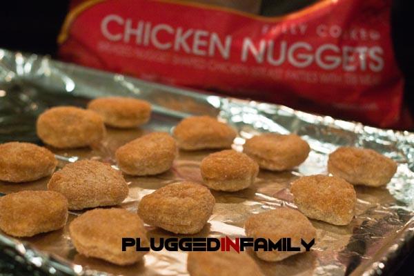 Tyson chicken nuggets on baking sheet