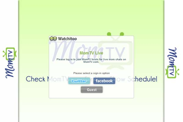 MomTV shares videos for mom and a live show login screen with Watchitoo
