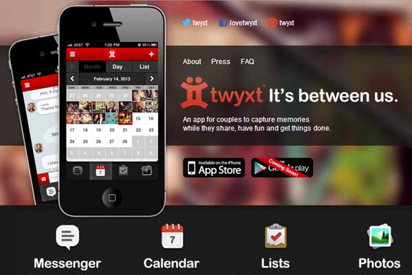Twyxt app for couples screenshot from app store