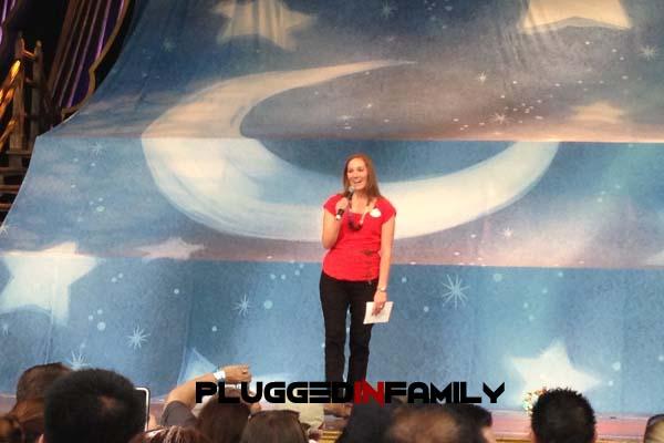 Erin Glover on stage addressing Disney Parks Blog Meetup Guests
