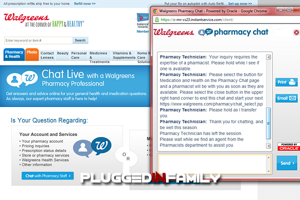 Answers at Walgreens 24/7 Pharmacy Chat Online