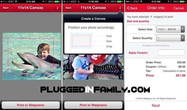 Walgreens photo app screen shot cut lines on photo