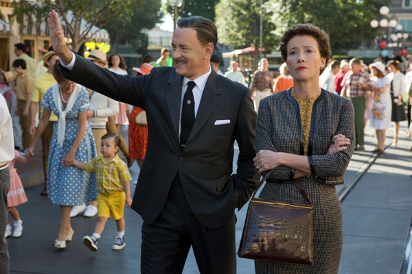 Walt Disney and P.L. Travers walking through Disneyland in Saving Mr. Banks