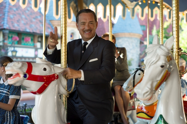Walt Disney riding King Arthur Carousel in Saving Mr. Banks
