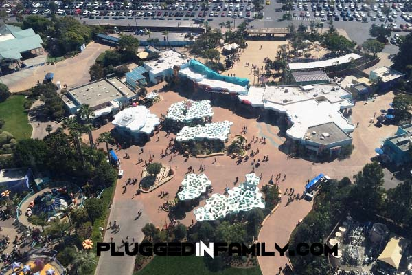 Ariel view from Sky Tower of SeaWorld San Diego new entrance for 50th celebration