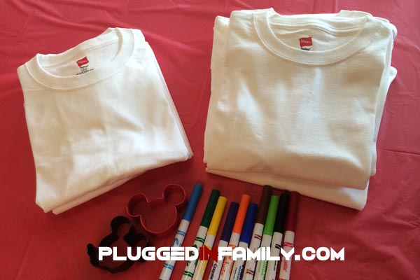 Custom Disney shirts made with Hanes cookie cutters and Crayola markers