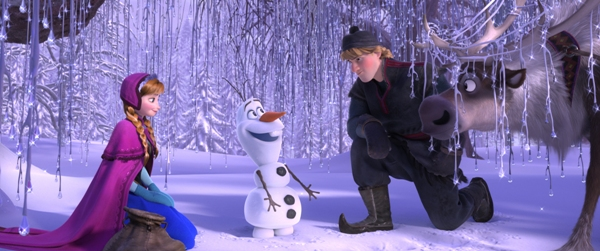 Elsa Kristof and Sven meet Olaf in Disney Frozen