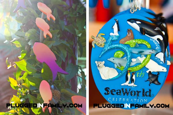 Fish decorations and 50th anniversary ornament for SeaWorld
