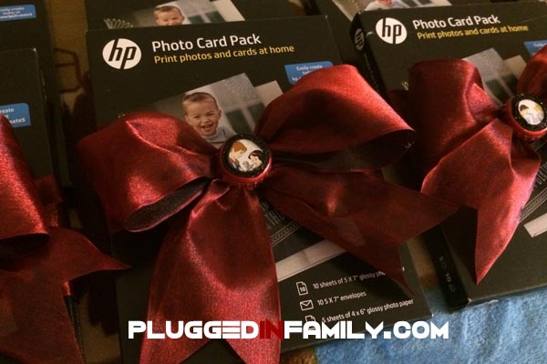 Photo card paper from HP with custom upcycled bow