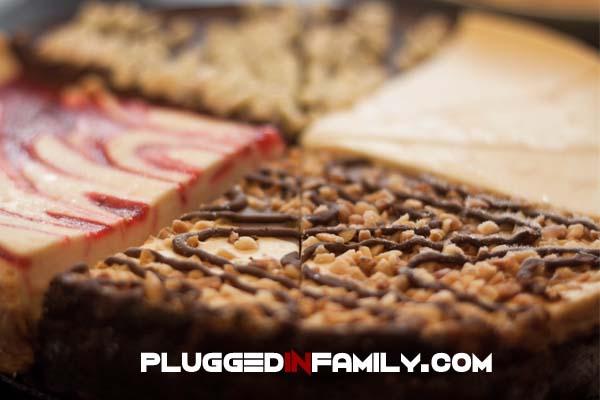 Cheesecake samples at HoneyBaked Ham