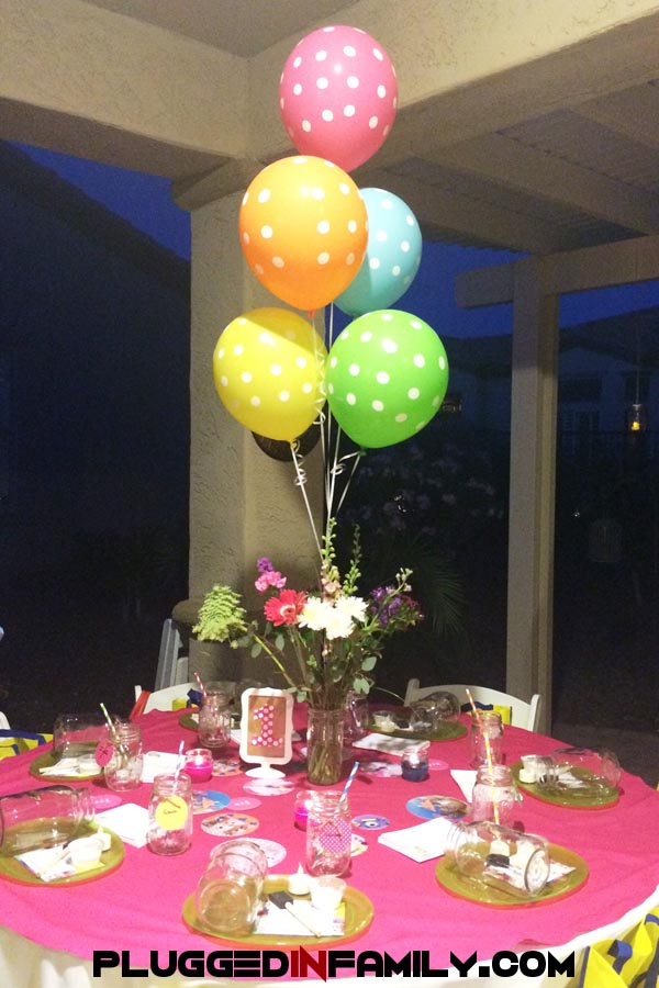 Party In A Jar book launch party decorated tables with balloons and jars