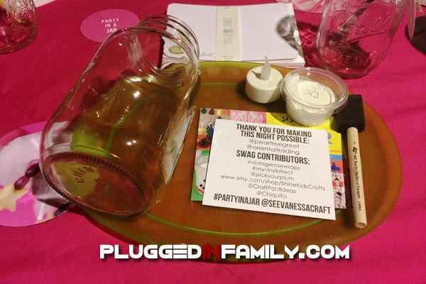 Party In A Jar book launch party place setting with crafting supplies