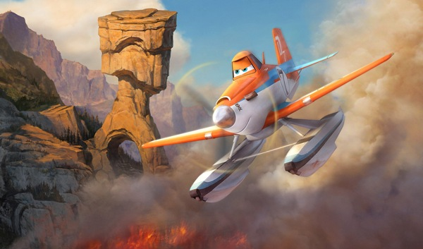 Dusty flying over a national forest fire in Planes Fire and Rescue