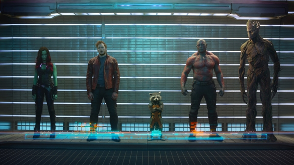 Guardians of the Galaxy prison lineup with Gamora Star-Lord Rocket Raccoon Drax and Groot