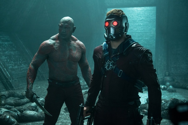 Star-Lord played by Chris Pratt and Drax played by Dave Bautista from Guardians of the Galaxy
