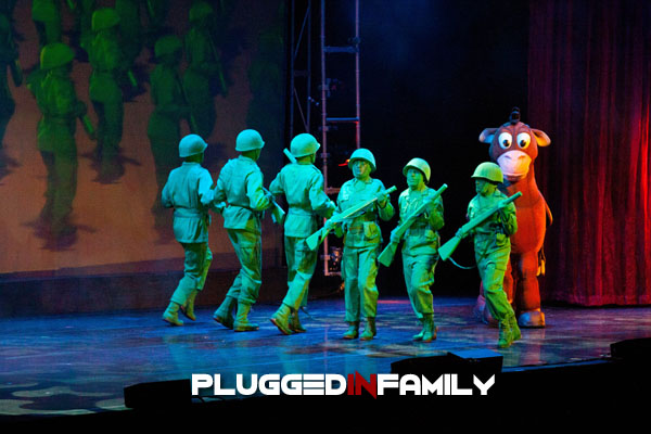 Green Army Men from Toy Story march with Bullseye