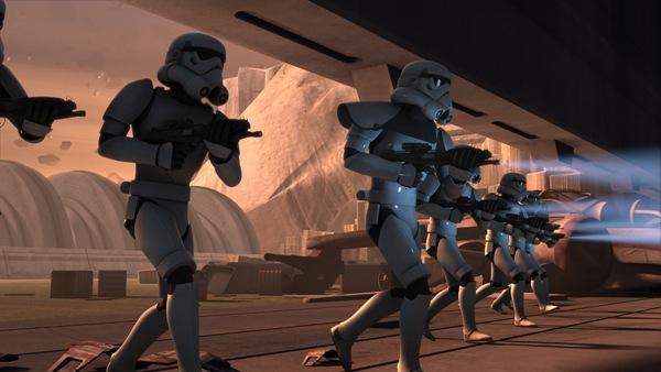 Stormtroopers march in Star Wars Rebels Season One