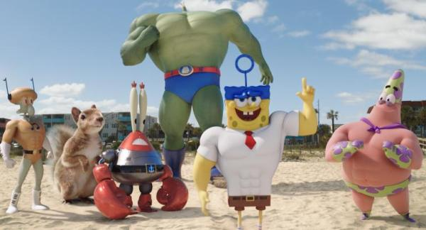 SpongeBob Movie Plankton as Plank-Ton, Patrick as Mr. Superawesomeness, Mr. Krabs as Sir Pinch-A-Lot, Squidward as Sour Note, SpongeBob as Invincibubble, and Sandy
