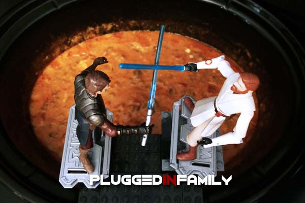 Anakin and Obi-Wan Hasbro toy fighting over Molten Mustafar Cheese Dip