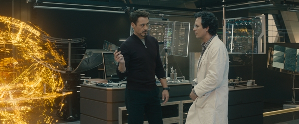 Robert Downey Jr and Mark Ruffolo in the lab for Avengers Age of Ultron