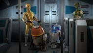 C3PO, R2-D2, and Chopper on a transport in Star Wars Rebels