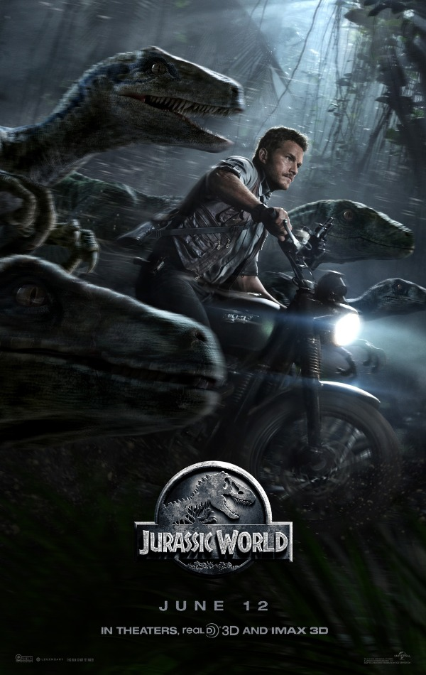 Chris Pratt as Owen riding a motorcycle with Blue and raptors in Jurassic World