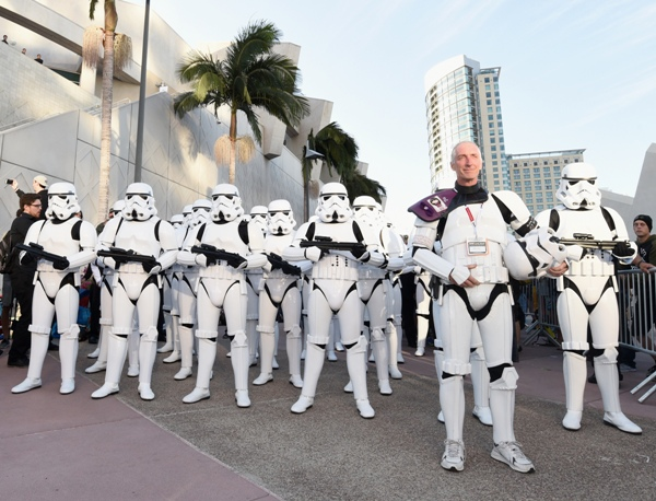 Following the Star Wars presentation at Comic-Con International 2015 at the San Diego Convention Center in San Diego, Calif., 501st Legion member, Kevin Doyle and the audience of more than 6,000 fans walked to a surprise Star Wars Fan Concert performed by the San Diego Symphony, featuring the classic Star Wars music of composer John Williams, at the Embarcadero Marina Park South on July 10, 2015 in San Diego, California. Photo by Michael Buckner/Getty Images for Disney.