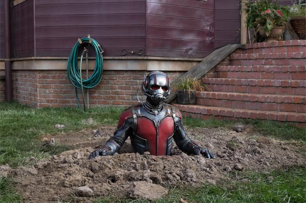 Ant-Man breaks through the ground