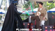 Fighting Darth Vader at Jedi Training Academy at Disneyland in 2008