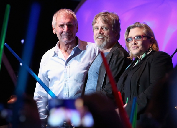 Actors Harrison Ford, Mark Hamill, Carrie Fisher and more than 6000 fans enjoyed a surprise Star Wars Fan Concert performed by the San Diego Symphony, featuring the classic Star Wars music of composer John Williams, at the Embarcadero Marina Park South on July 10, 2015 in San Diego, California. Photo by Jesse Grant/Getty Images for Disney.