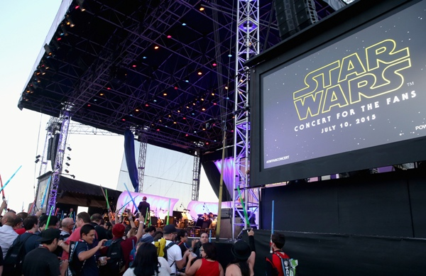 Following the Star Wars Hall H presentation at Comic-Con International 2015 at the San Diego Convention Center in San Diego, Calif., the audience of more than 6,000 fans enjoyed a surprise Star Wars Fan Concert performed by the San Diego Symphony, featuring the classic Star Wars music of composer John Williams, at the Embarcadero Marina Park South on July 10, 2015 in San Diego, California. Photo by Jesse Grant/Getty Images for Disney.