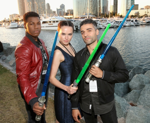 Actors John Boyega, Daisy Ridley, Oscar Isaac and more than 6,000 fans enjoyed a surprise Star Wars Fan Concert performed by the San Diego Symphony, featuring the classic Star Wars music of composer John Williams, at the Embarcadero Marina Park South on July 10, 2015 in San Diego, California. Photo by Jesse Grant/Getty Images for Disney.