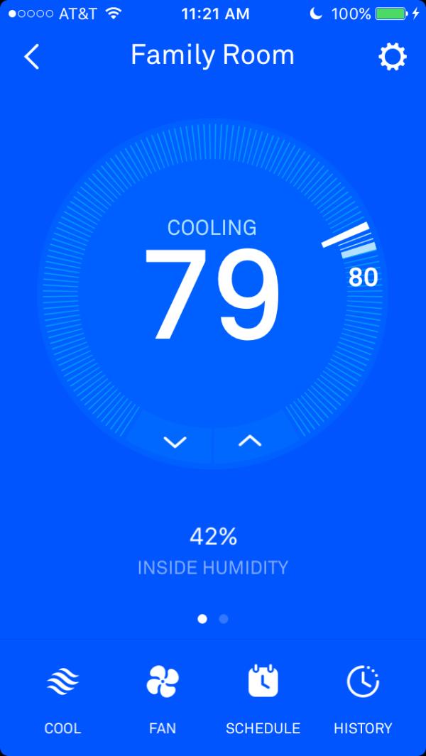 Nest app adjusts home temperature