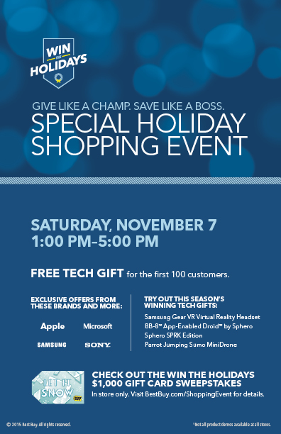 Best Buy Holiday Shopping Event November 7th