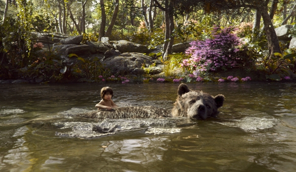 Mowgli and Baloo in the river from The Jungle Book