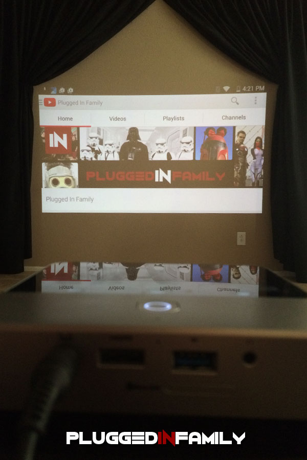 Plugged In Family YouTube Channel on Projector