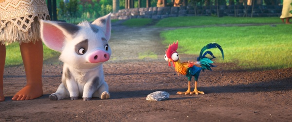Pig and dumb chicken Heihei from Moana