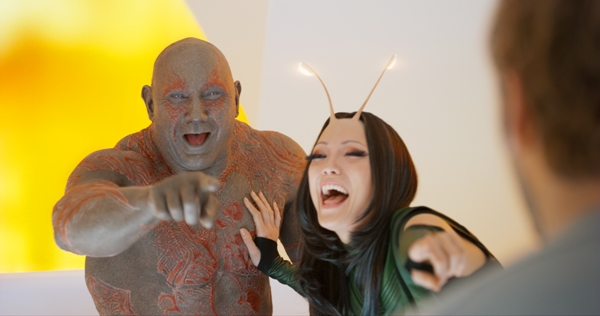 Drax (Dave Bautista) and Mantis (Pom Klementieff) laughing