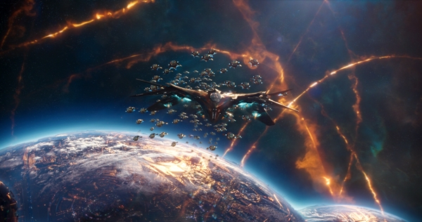 The Milano being attacked in space