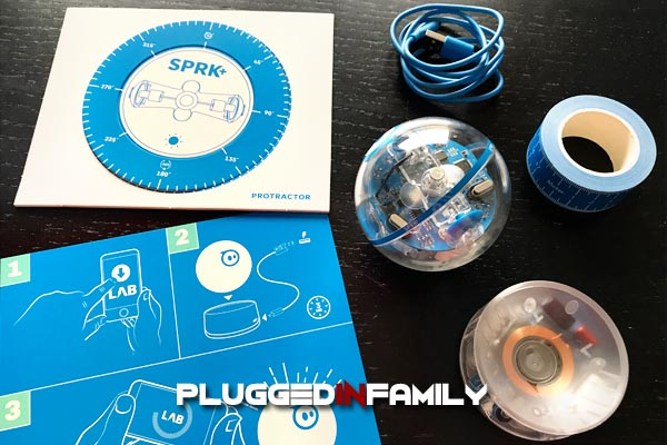 SPRK Plus comes with USB charging stand charger and protractor