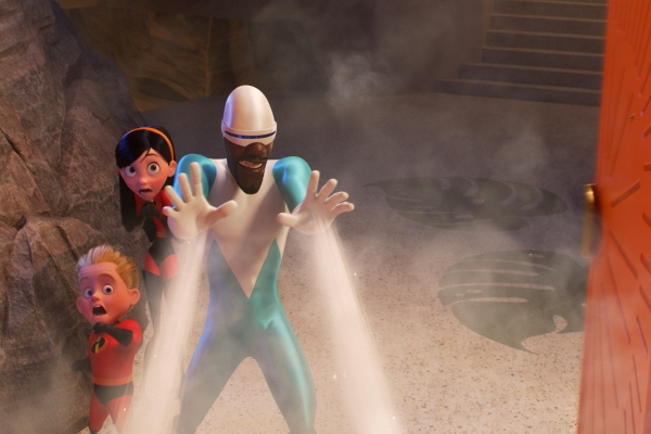 Frozone voiced by Samuel L. Jackson from Incredibles 2