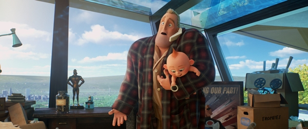 Mr. Incredible is a stay at home dad in The Incredibles 2