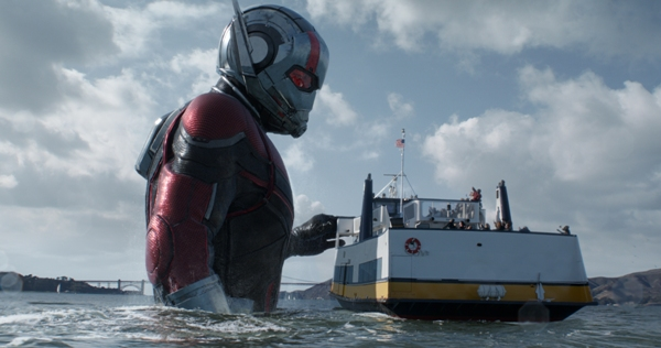 Giant Ant-Man with boat