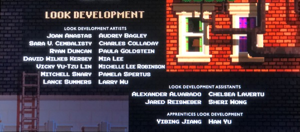 Screenshot of Michelle Lee Robinson name in credits from Wreck-It Ralph