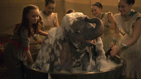 Dumbo getting a bath