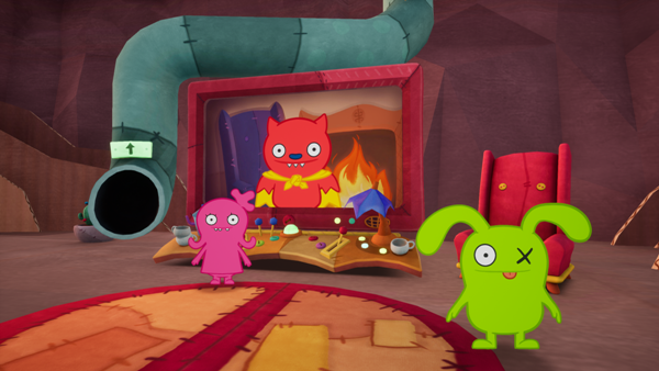 Moxy Ox and Lucky Bat in the cave family video game for UglyDolls An Imperfect Adventure