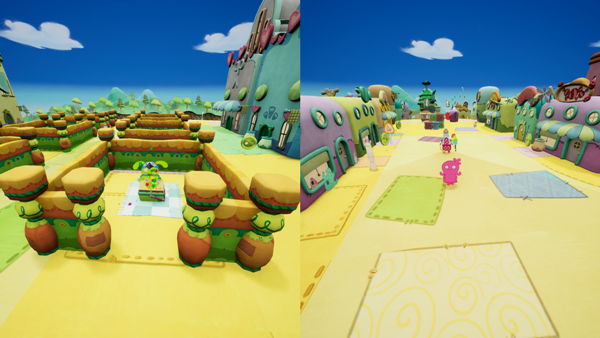 Split screen game play in UglyDolls An Imperfect Adventure video game